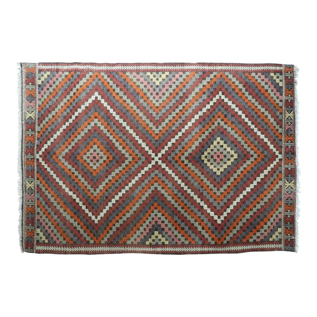 "Vintage Turkish Kilim Rug-6'4'x9'2"" For Sale"