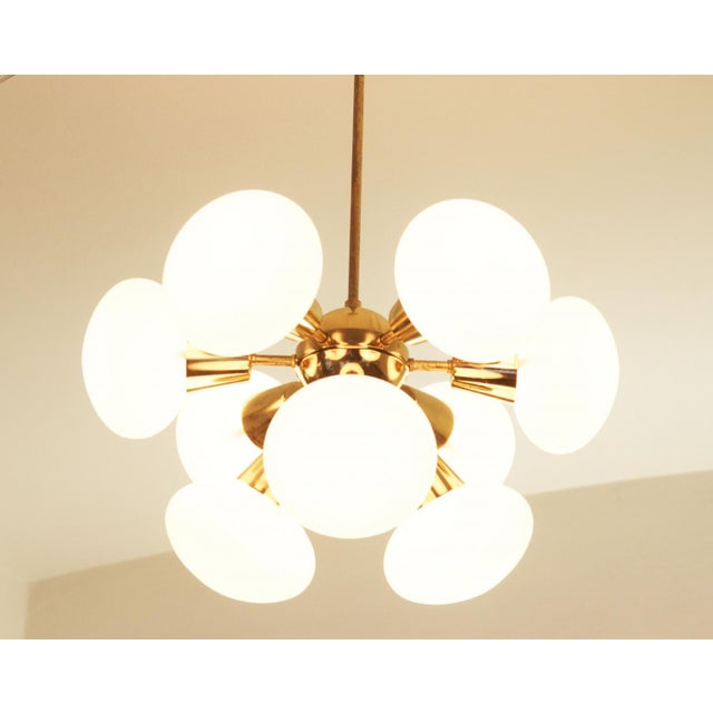 1960s Mid-Century Sputnik Frosted Glass Chandelier, 1960s For Sale - Image 5 of 10