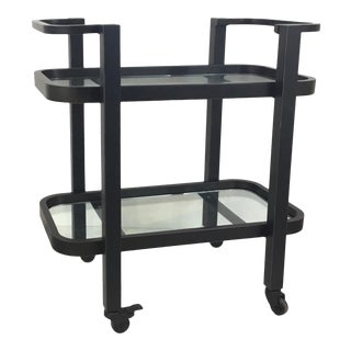 Regina Andrew Modern Glass and Bronze Finished Two-Tier Carter Bar Cart For Sale