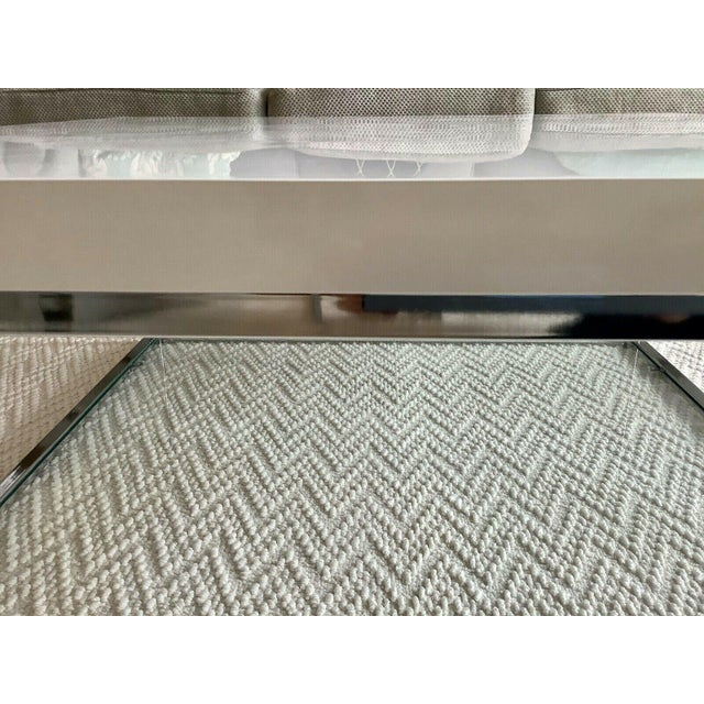 White White Lacquer and Chrome Coffee Table With Tempered Glass Bottom Shelf For Sale - Image 8 of 10