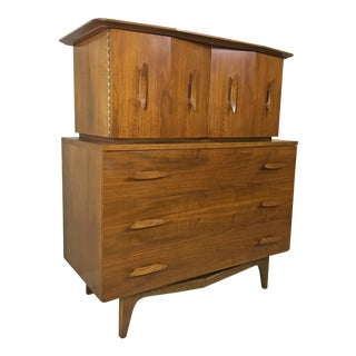 Mid Century Walnut Highboy With Nautical Cleat Pulls For Sale