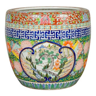 Japanese Meiji Period Late 19th Century Multi-Color Planter with Landscape Scene For Sale