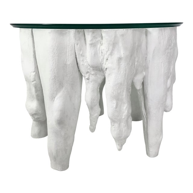 Bruailist White Cypress Root Sculpted Side Table For Sale