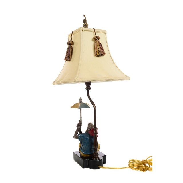 Late 20th Century Maitland Smith - Monkey Holding Umbrella - Table Lamps - a Pair For Sale - Image 5 of 10