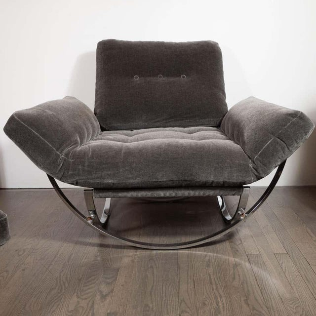 Midcentury Button Tufted Chair & Ottoman in Chrome & Graphite Mohair by Stendig - a Pair For Sale - Image 9 of 13