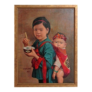 Chinese Oil Painting of Young Girl Carrying Baby For Sale