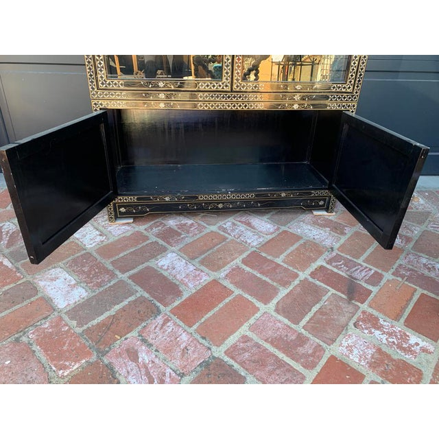 Vintage Black Lacquer Chinoiserie China Cabinet For Sale - Image 12 of 13