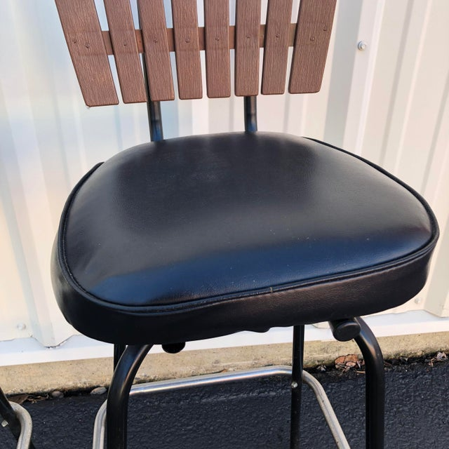 Black Black Swivel Bar Stools With Faux Wood Seat Backs - A Pair For Sale - Image 8 of 13