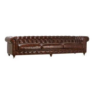 """Chestnut Long 120"""" Chesterfield Sofa For Sale"""