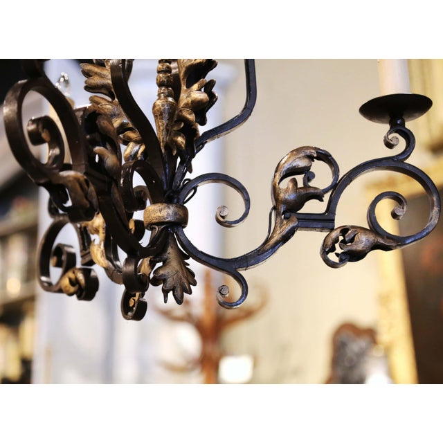 Gold 19th Century, French Louis XV Iron Black and Gilt Painted Three-Light Chandelier For Sale - Image 8 of 9