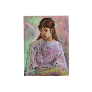 1950s Eliot Freedman Young Girl Portrait Oil Painting