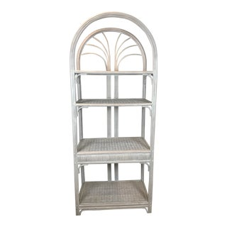 1970s Boho Chic Rattan and Wicker Etagere Bookcase For Sale