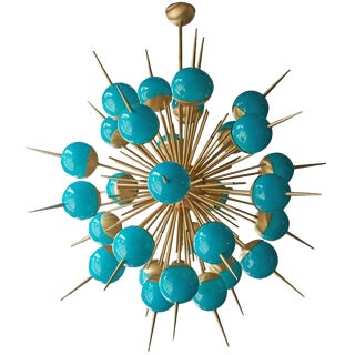 1 of 2 Huge Tiffany Turquoise Murano Glass and Brass Sputnik Chandeliers Attributed to Stilnovo For Sale