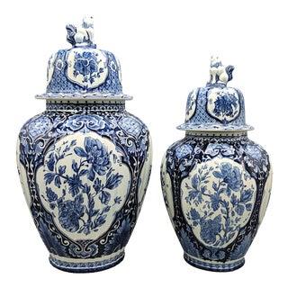 Large Delft Mid-Century Blue and White Ginger Jars/ Lidded Urn Vases - Set of 2 For Sale