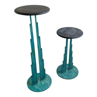 1987 Curtis Jere Signed Memphis Style Steel Turquoise Powder Coat Slate Tops Plant Stands - Set of 2 For Sale