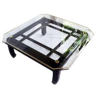 Vintage Ming-Style Chinoiserie Black Lacquered & Gold Brass Coffee Table With Glass Top For Sale
