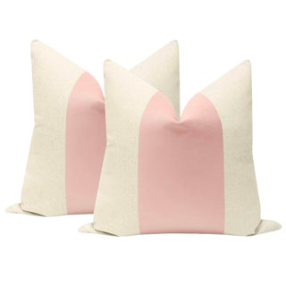 "22"" Blush Velvet Panel & Linen Pillows - a Pair For Sale"
