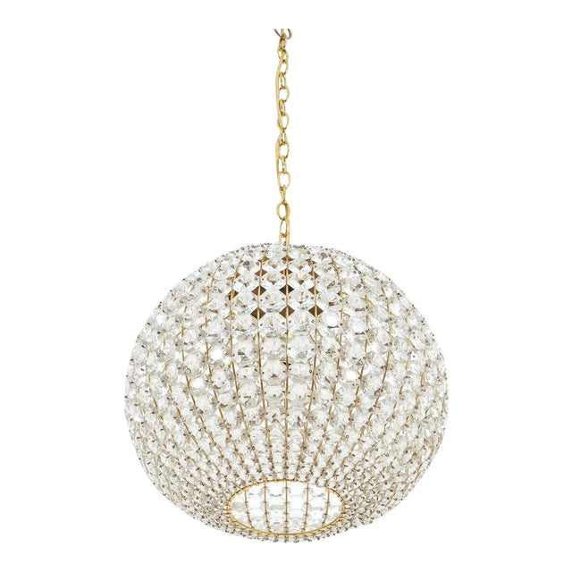 Large Ball Shaped Crystal Chandelier Lamp Austria, circa 1960 For Sale