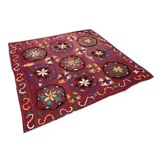 Antique Suzani Fabric Bedspread Tapestry For Sale