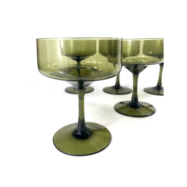 Vintage Smoke Green Coupe Champagne Glasses - Set of 5 For Sale In San Francisco - Image 6 of 7
