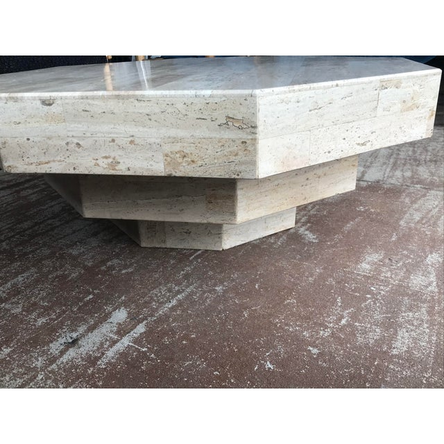 1980s Octagonal Stacked Travertine Coffee Table For Sale - Image 5 of 12