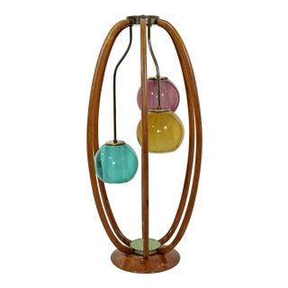 1960s Modeline Caged Wood Table Lamp W 3 Colored Glass Heads For Sale