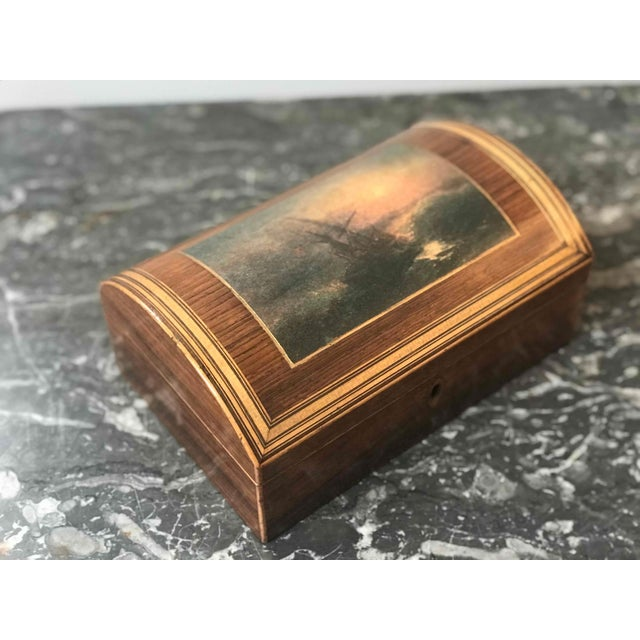 Late 19th Century Wooden Dome Box With Seascape Scene From 1880s England For Sale - Image 5 of 7