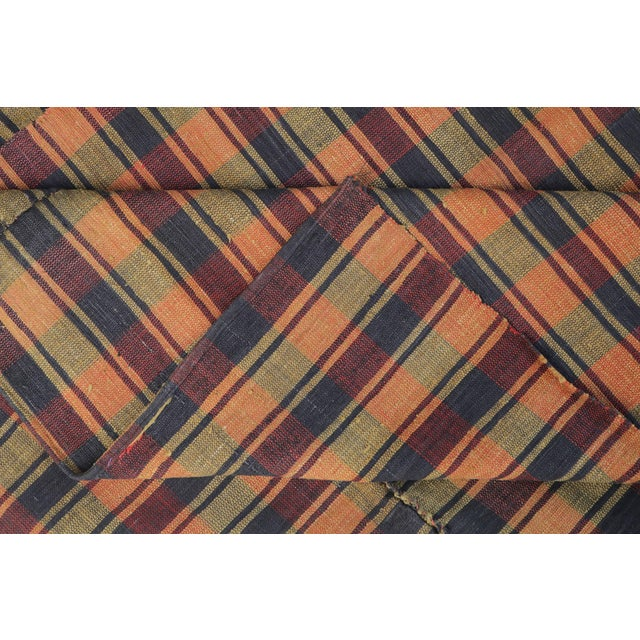 Vintage Turkish Striped Plaid Flatweave - 6′ × 8′5″ - Image 4 of 4