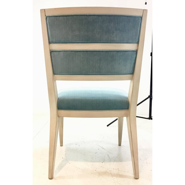 Wood Hickory White Modern Turquoise Velvet Greek Key Dining Chairs Set of Four For Sale - Image 7 of 11