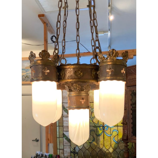 Metal 19th Century Gothic 5 Light Pendant Chandelier For Sale - Image 7 of 13