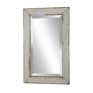 White Wooden Beveled Mirror For Sale