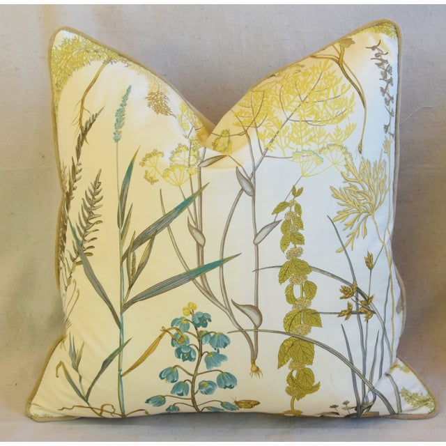 "Textile Botanical Wildflower Floral Feather/Down Pillows 23"" Square - Pair For Sale - Image 7 of 13"
