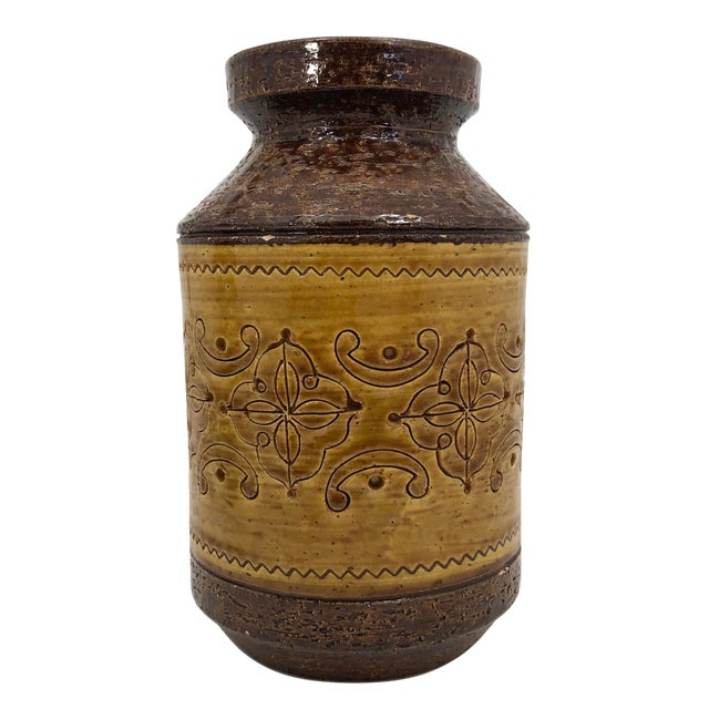 """Aldo Londi for Bitossi Mid-Century """"Spagnolo"""" Brown and Mustard Vase For Sale"""