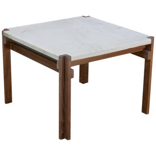 1950s Carrara Marble and Teak Geometric Side Table Like Fabricius Kastholm For Sale