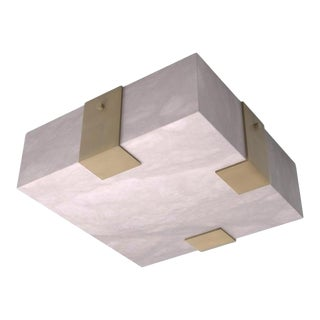 Contemporary 002A-3C Flush Mount in Alabaster and Brass by Orphan Work For Sale