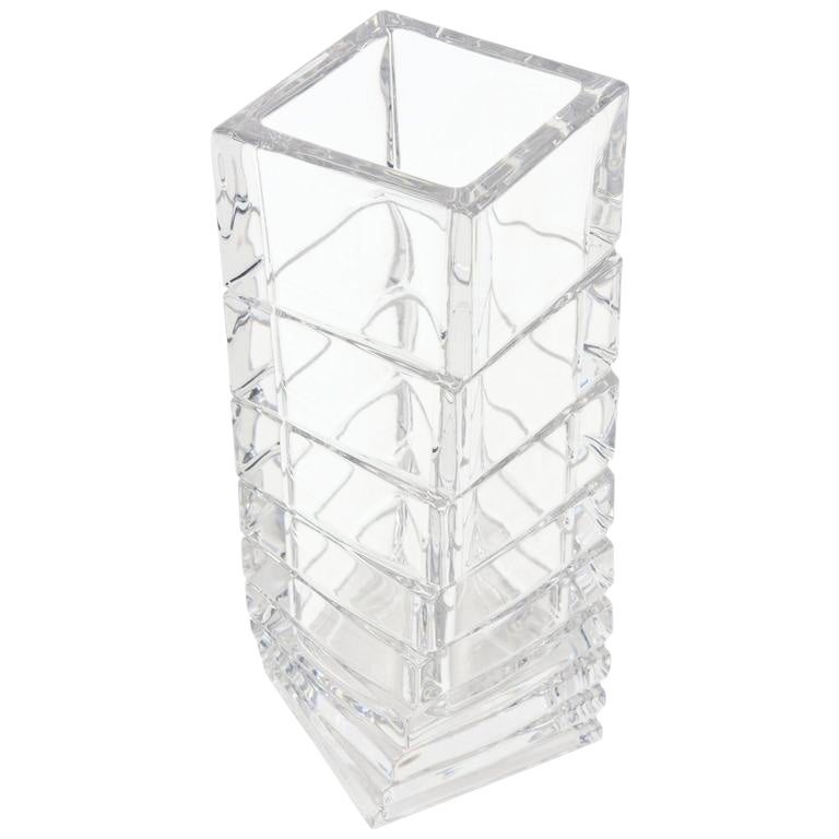 Fine Rosenthal Twisted And Staggered Clear Glass Sculptural Column
