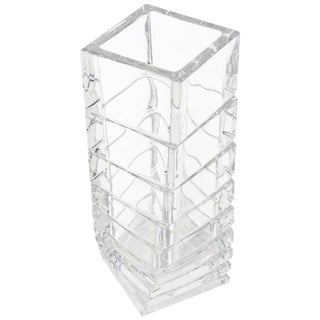 Rosenthal Twisted and Staggered Clear Glass Sculptural Column Vase For Sale