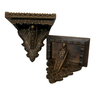 Anglo Indian Wood Carved Wall Brackets With Carved Birds and Brass Accents - A-Pair For Sale