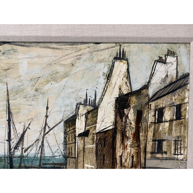 Mid 20th Century Mid-Century Modern Charles Levier Painting of French Port Scene With Boats For Sale - Image 5 of 12