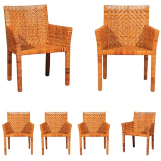 Outstanding Restored Set of Six Cane Chairs in the Style of Jean-Michel Frank For Sale