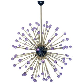 Purple Burst Murano Sputnik Chandelier by Fabio Ltd For Sale