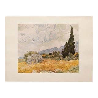 "Mid Century Vintage ""Wheat Field With Cypresses"" Lithograph by Van Gogh For Sale"
