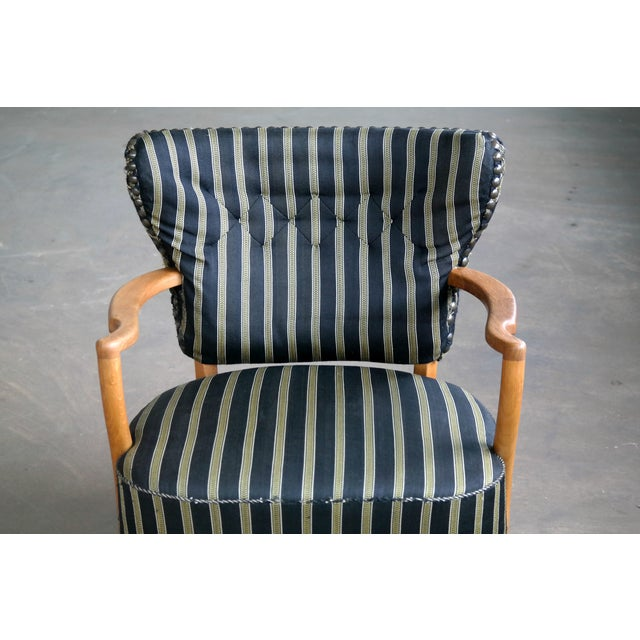 Otto Schulz Style Lounge Chair in Oak With Brass Tacks Danish Midcentury For Sale - Image 9 of 11