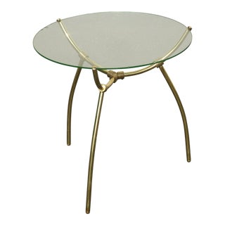Vintage Mid-Century Brass Round Glass Top Side Table