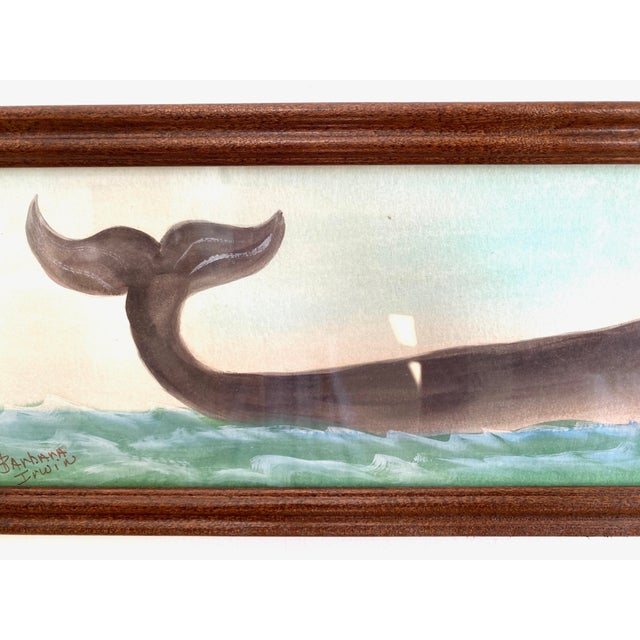 Farmhouse Original Nautical Whale Watercolor Painting For Sale - Image 3 of 4