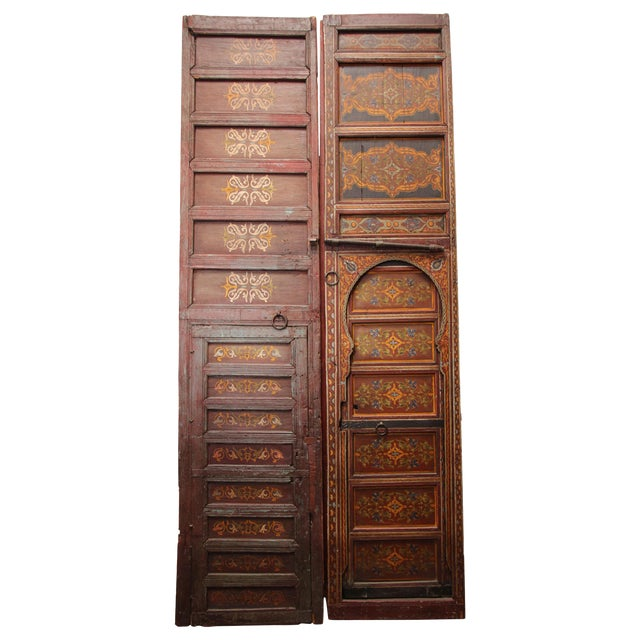 19th Century Moroccan Antique Double Door With Hand Painted Moorish Designs For Sale