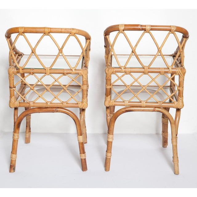 Bamboo Diminutive Pair of 1950s Italian Bamboo Side Tables or Night Stands For Sale - Image 7 of 13
