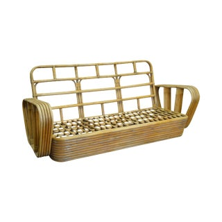 Paul Frankl Style Vintage Bamboo Rattan Sofa For Sale