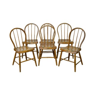 Antique Early 19th Century Painted Childs Youth-Size Windsor Dining Chairs - Set of 6