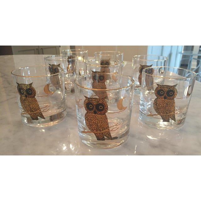 1960s Couroc of Monterey Owl Glasses - Set of 8 For Sale In Orlando - Image 6 of 8